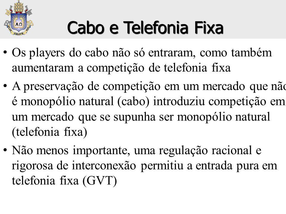• Os players do cabo não só entraram, como também aumentaram a competição de telefonia fixa • A preservação de competição em um mercado que não é mono