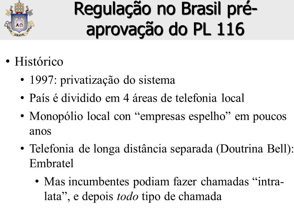 """• Histórico • 1997: privatização do sistema • País é dividido em 4 áreas de telefonia local • Monopólio local con """"empresas espelho"""" em poucos anos •"""