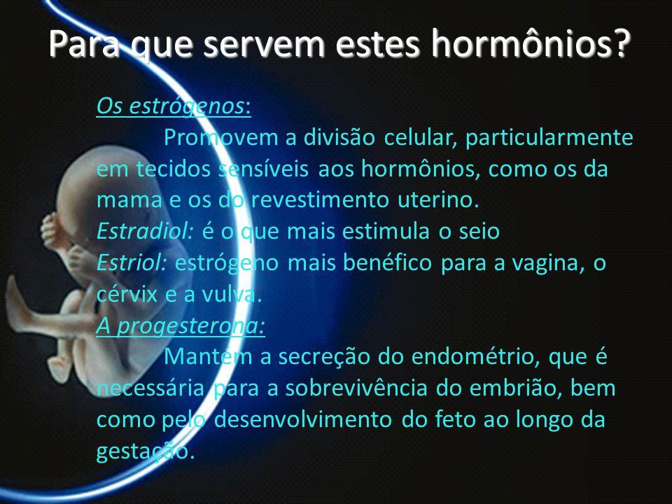 PROF. DR. ARNALDO CALDAS Para que servem estes hormônios? Os estrógenos: Promovem a divisão celular, particularmente em tecidos sensíveis aos hormônio
