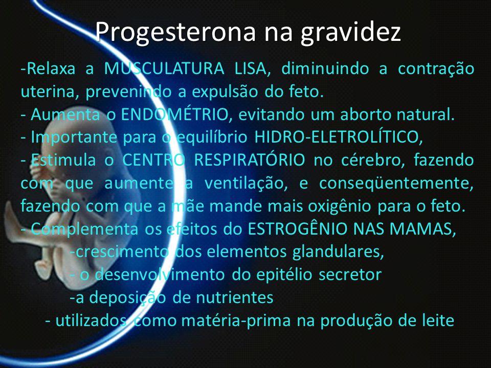 PROF. DR. ARNALDO CALDAS Progesterona na gravidez -Relaxa a MUSCULATURA LISA, diminuindo a contração uterina, prevenindo a expulsão do feto. - Aumenta