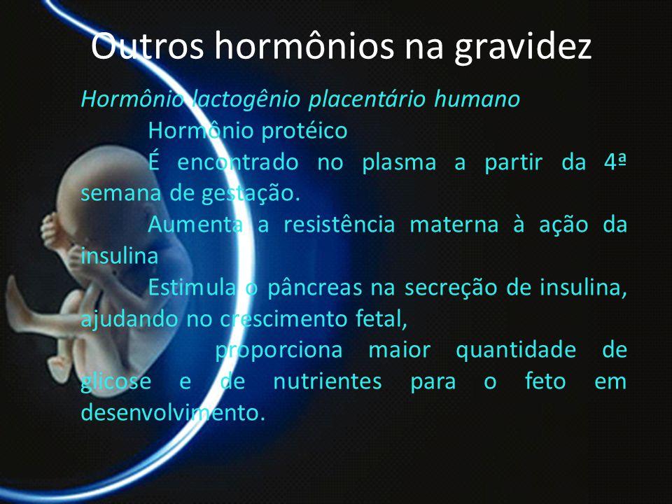 PROF. DR. ARNALDO CALDAS Outros hormônios na gravidez Hormônio lactogênio placentário humano Hormônio protéico É encontrado no plasma a partir da 4ª s