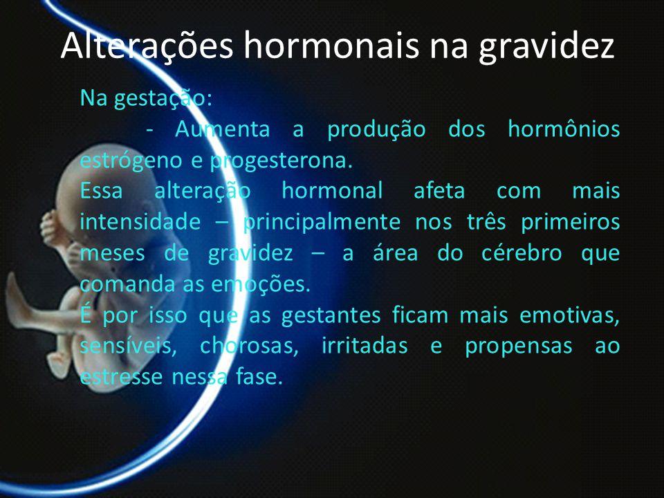 PROF. DR. ARNALDO CALDAS Alterações hormonais na gravidez Na gestação: - Aumenta a produção dos hormônios estrógeno e progesterona. Essa alteração hor