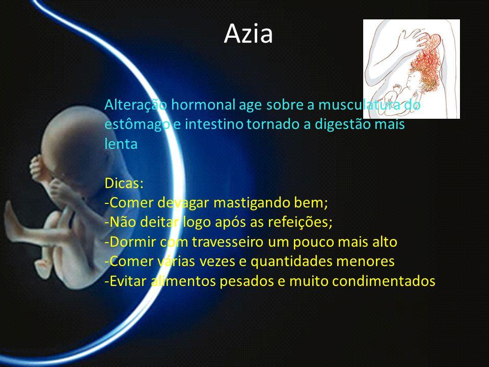 PROF. DR. ARNALDO CALDAS Azia Alteração hormonal age sobre a musculatura do estômago e intestino tornado a digestão mais lenta Dicas: -Comer devagar m