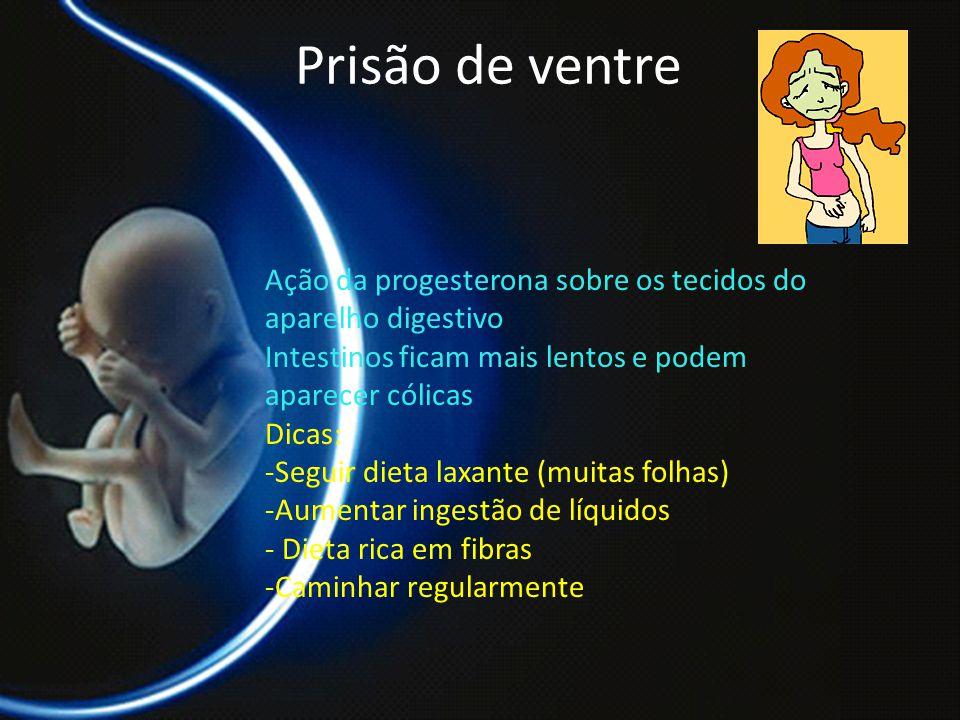 PROF. DR. ARNALDO CALDAS Prisão de ventre Ação da progesterona sobre os tecidos do aparelho digestivo Intestinos ficam mais lentos e podem aparecer có