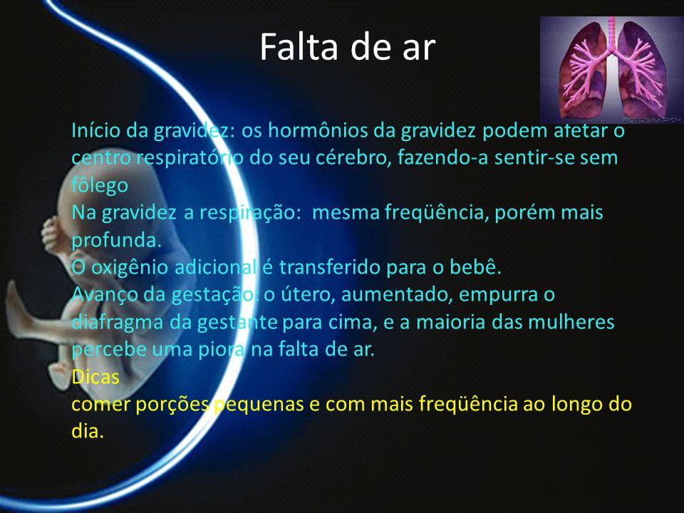 PROF. DR. ARNALDO CALDAS Falta de ar Início da gravidez: os hormônios da gravidez podem afetar o centro respiratório do seu cérebro, fazendo-a sentir-