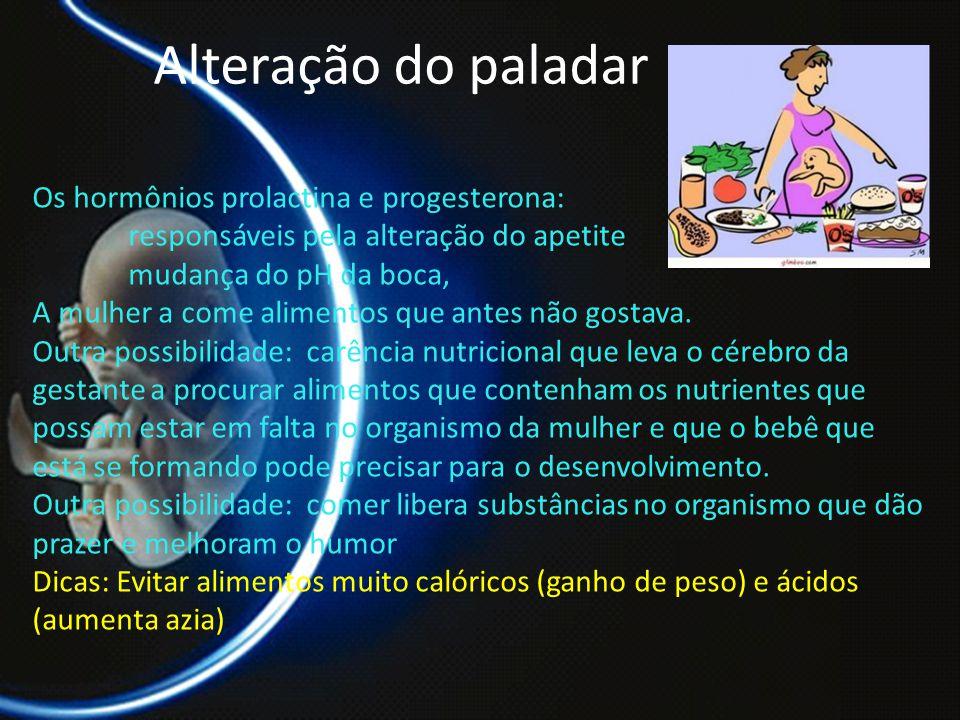 PROF. DR. ARNALDO CALDAS Alteração do paladar Os hormônios prolactina e progesterona: responsáveis pela alteração do apetite mudança do pH da boca, A