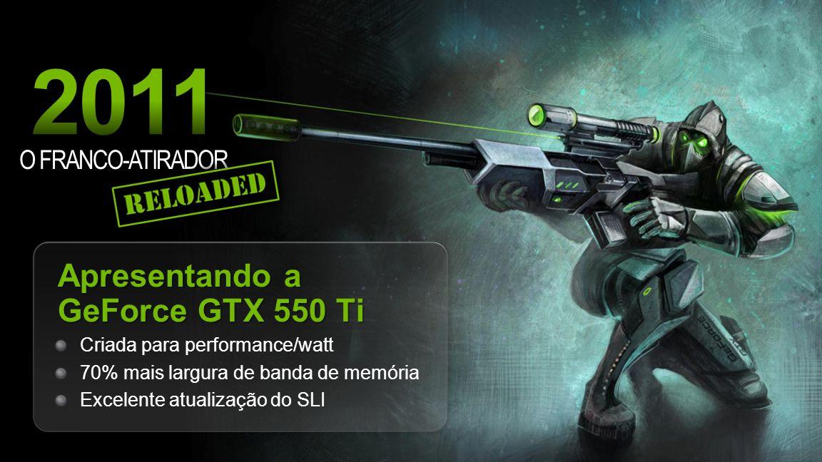 NVIDIA Confidential O FRANCO-ATIRADOR Apresentando a GeForce GTX 550 Ti Criada para performance/watt 70% mais largura de banda de memória Excelente atualização do SLI
