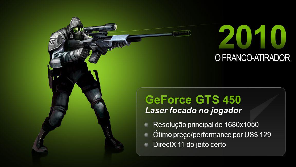 NVIDIA Confidential O FRANCO-ATIRADOR GeForce GTS 450 Laser focado no jogador Resolução principal de 1680x1050 Ótimo preço/performance por US$ 129 DirectX 11 do jeito certo