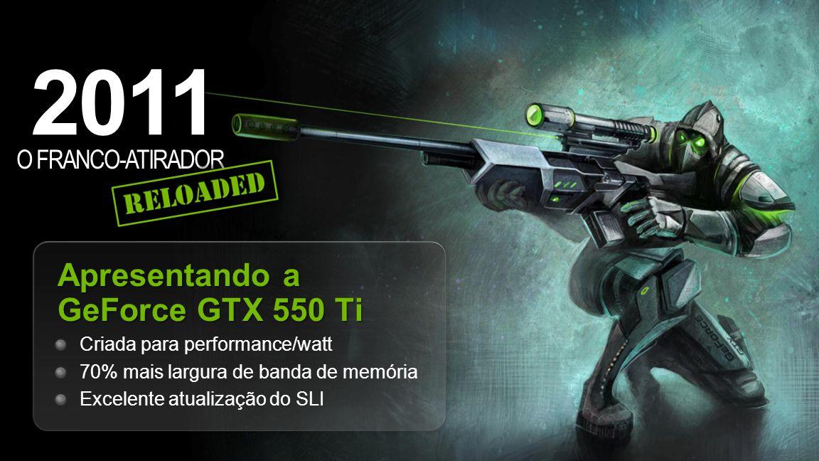 NVIDIA Confidential 2011 O FRANCO-ATIRADOR Apresentando a GeForce GTX 550 Ti Criada para performance/watt 70% mais largura de banda de memória Excelente atualização do SLI