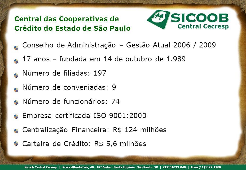 Referência em cooperativismo de crédito Sicoob Central Cecresp | Praça Alfredo Issa, 48 - 18° Andar - Santa Efigênia - São Paulo - SP | CEP:01033-040 | Fone:(11)3327-1900 Conselho de Administração – Gestão Atual 2006 / 2009 17 anos – fundada em 14 de outubro de 1.989 Número de filiadas: 197 Número de conveniadas: 9 Número de funcionários: 74 Empresa certificada ISO 9001:2000 Centralização Financeira: R$ 124 milhões Carteira de Crédito: R$ 5,6 milhões Central das Cooperativas de Crédito do Estado de São Paulo