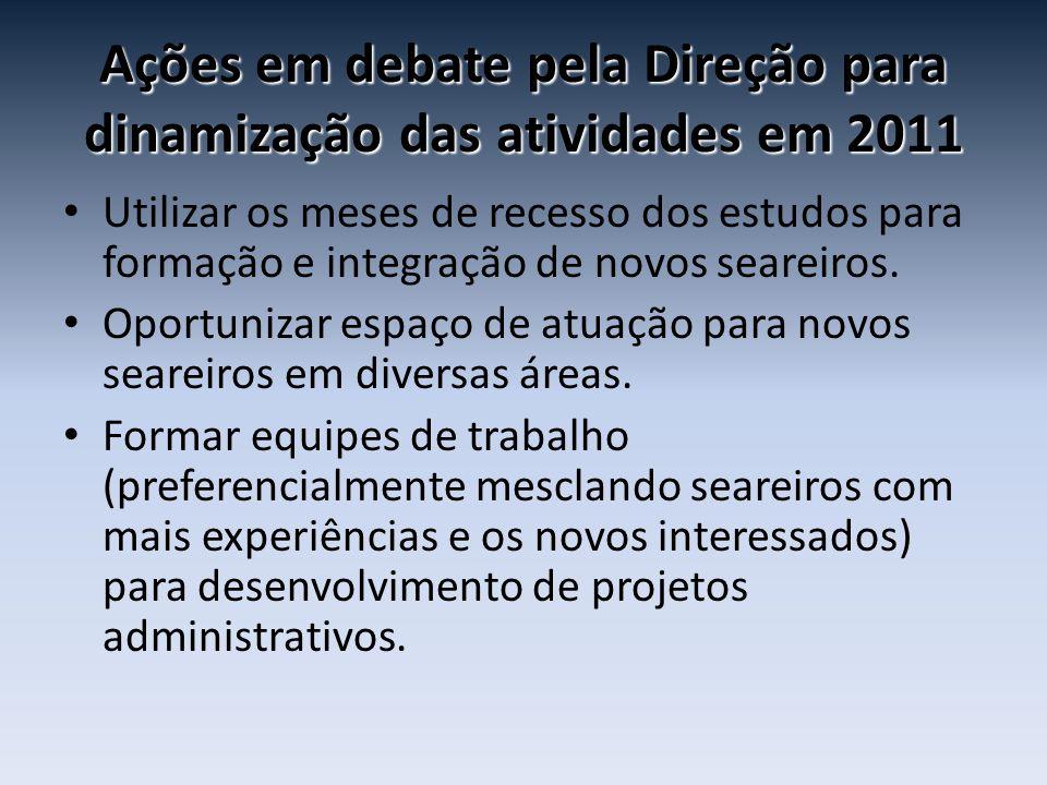 Ações em debate pela Direção para dinamização das atividades em 2011 • Utilizar os meses de recesso dos estudos para formação e integração de novos se