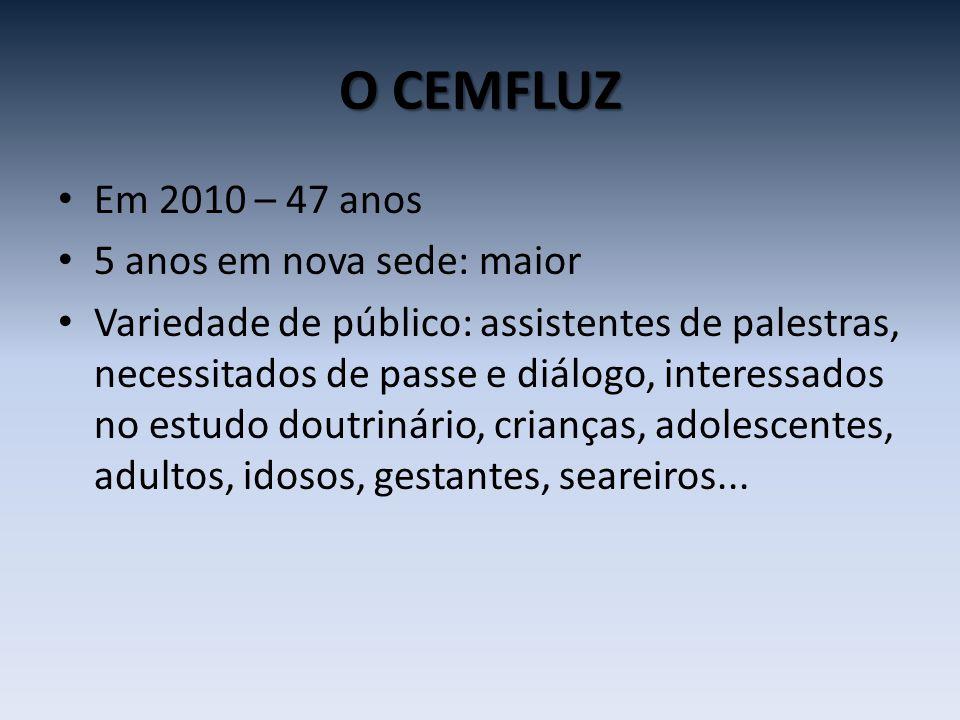 O CEMFLUZ • Em 2010 – 47 anos • 5 anos em nova sede: maior • Variedade de público: assistentes de palestras, necessitados de passe e diálogo, interess