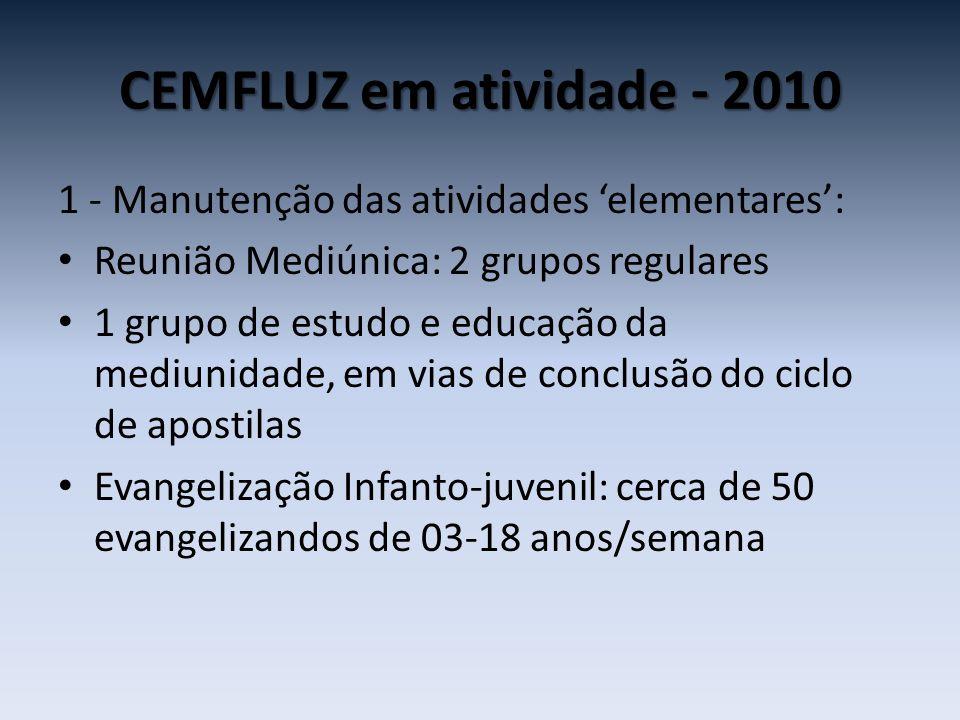 CEMFLUZ em atividade - 2010 1 - Manutenção das atividades 'elementares': • Reunião Mediúnica: 2 grupos regulares • 1 grupo de estudo e educação da med