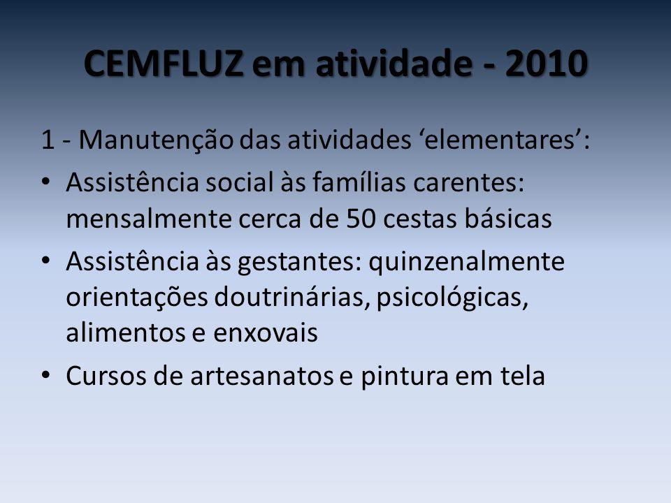CEMFLUZ em atividade - 2010 1 - Manutenção das atividades 'elementares': • Assistência social às famílias carentes: mensalmente cerca de 50 cestas bás
