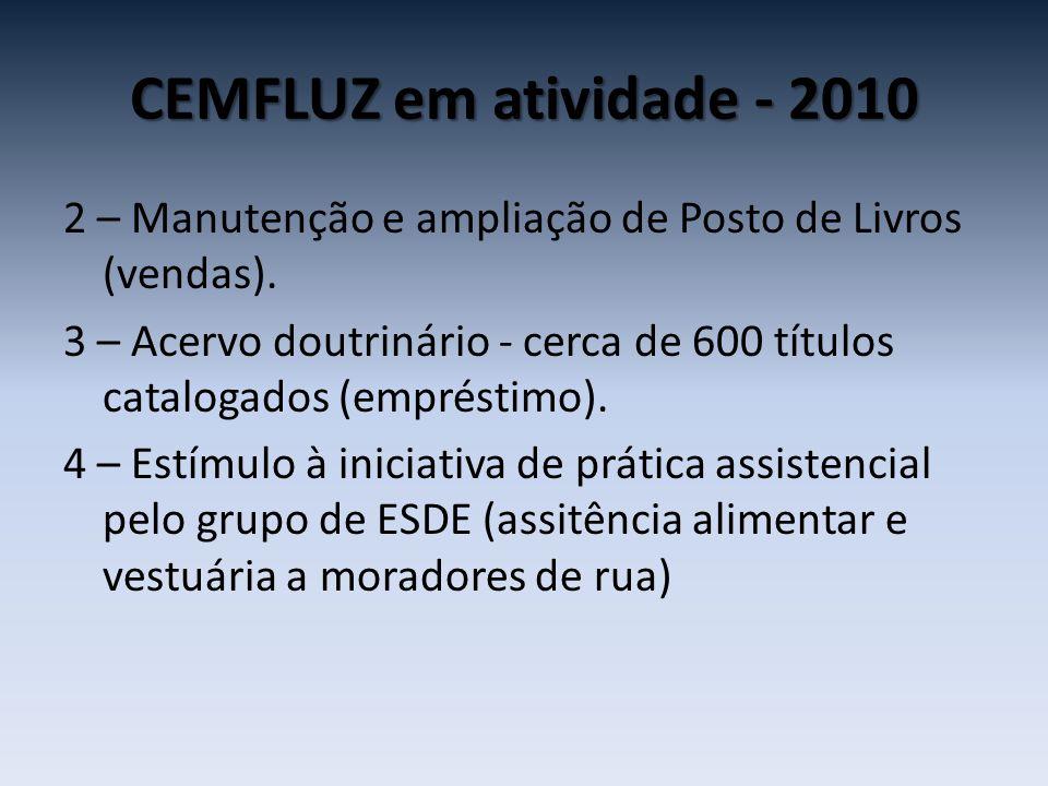 CEMFLUZ em atividade - 2010 2 – Manutenção e ampliação de Posto de Livros (vendas). 3 – Acervo doutrinário - cerca de 600 títulos catalogados (emprést