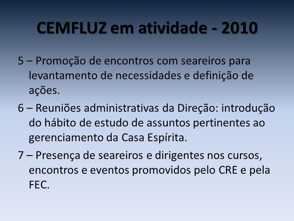 CEMFLUZ em atividade - 2010 5 – Promoção de encontros com seareiros para levantamento de necessidades e definição de ações. 6 – Reuniões administrativ