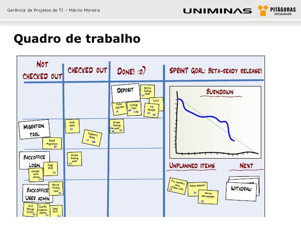 Gerência de Projetos de TI – Márcio Moreira Quadro de trabalho