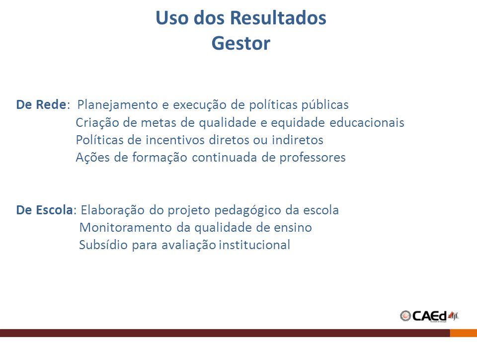 De Rede: Planejamento e execução de políticas públicas Criação de metas de qualidade e equidade educacionais Políticas de incentivos diretos ou indire