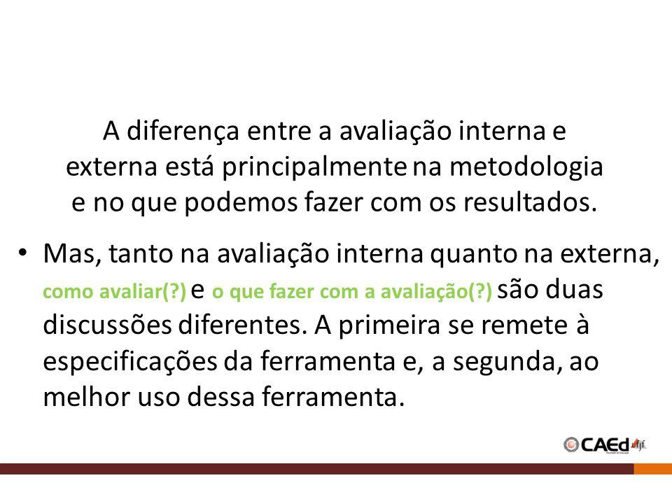 A diferença entre a avaliação interna e externa está principalmente na metodologia e no que podemos fazer com os resultados. • Mas, tanto na avaliação