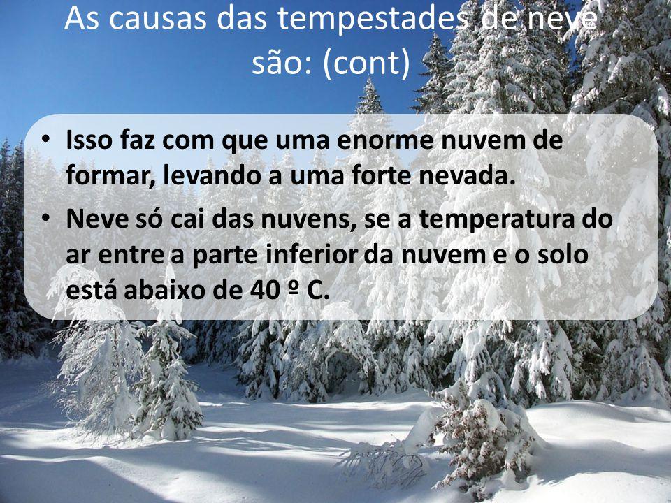 As causas das tempestades de neve são: (cont) • Isso faz com que uma enorme nuvem de formar, levando a uma forte nevada. • Neve só cai das nuvens, se