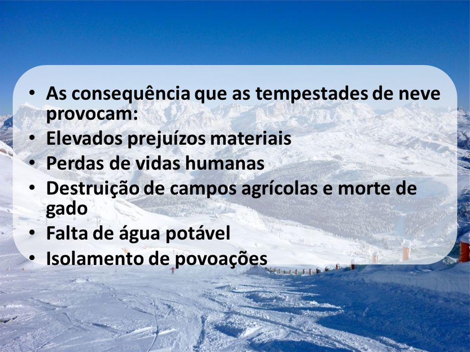 • As consequência que as tempestades de neve provocam: • Elevados prejuízos materiais • Perdas de vidas humanas • Destruição de campos agrícolas e mor