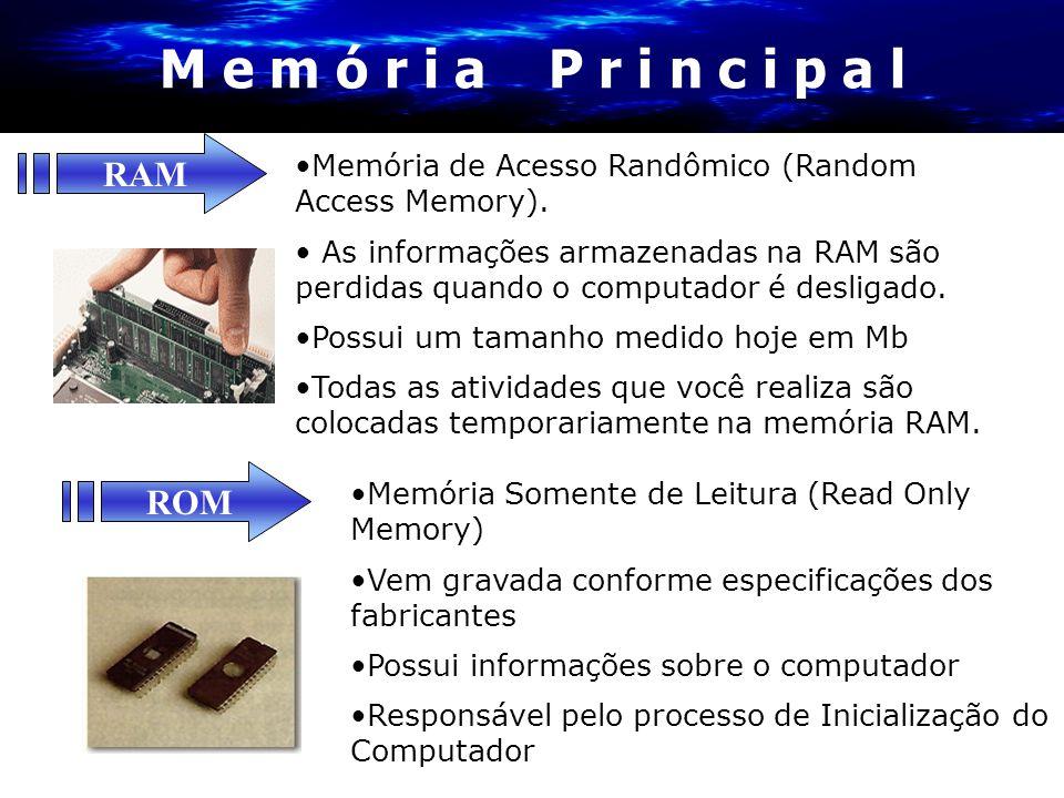 M e m ó r i a P r i n c i p a l •Memória de Acesso Randômico (Random Access Memory). • As informações armazenadas na RAM são perdidas quando o computa