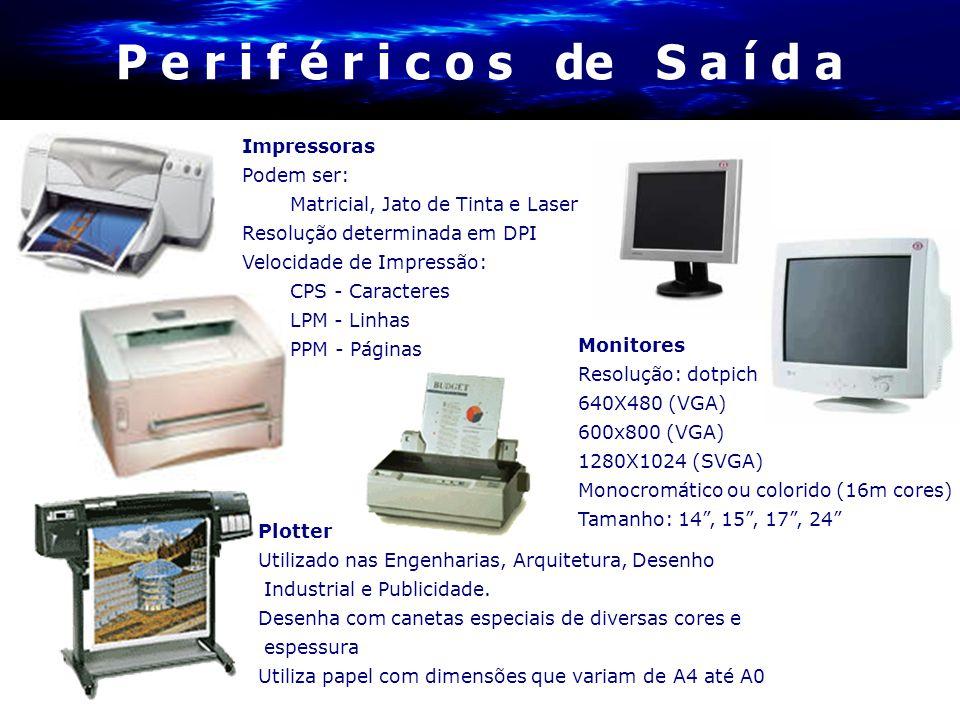 Impressoras Podem ser: Matricial, Jato de Tinta e Laser Resolução determinada em DPI Velocidade de Impressão: CPS - Caracteres LPM - Linhas PPM - Pági