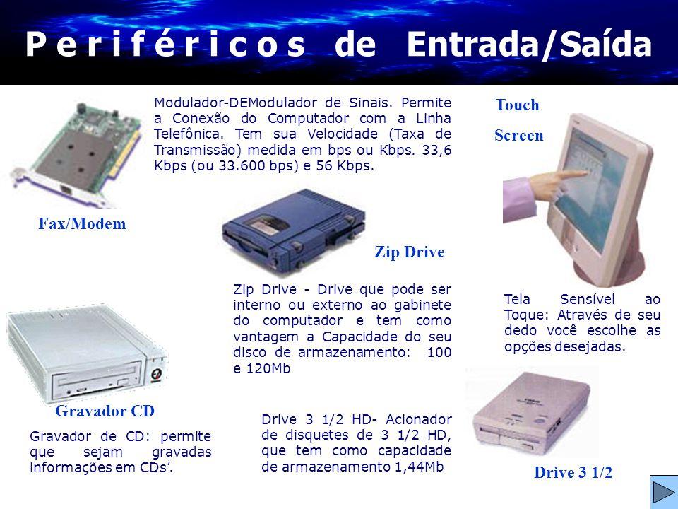 Drive 3 1/2 Gravador CD P e r i f é r i c o s de Entrada/Saída Fax/Modem Drive 3 1/2 HD- Acionador de disquetes de 3 1/2 HD, que tem como capacidade d
