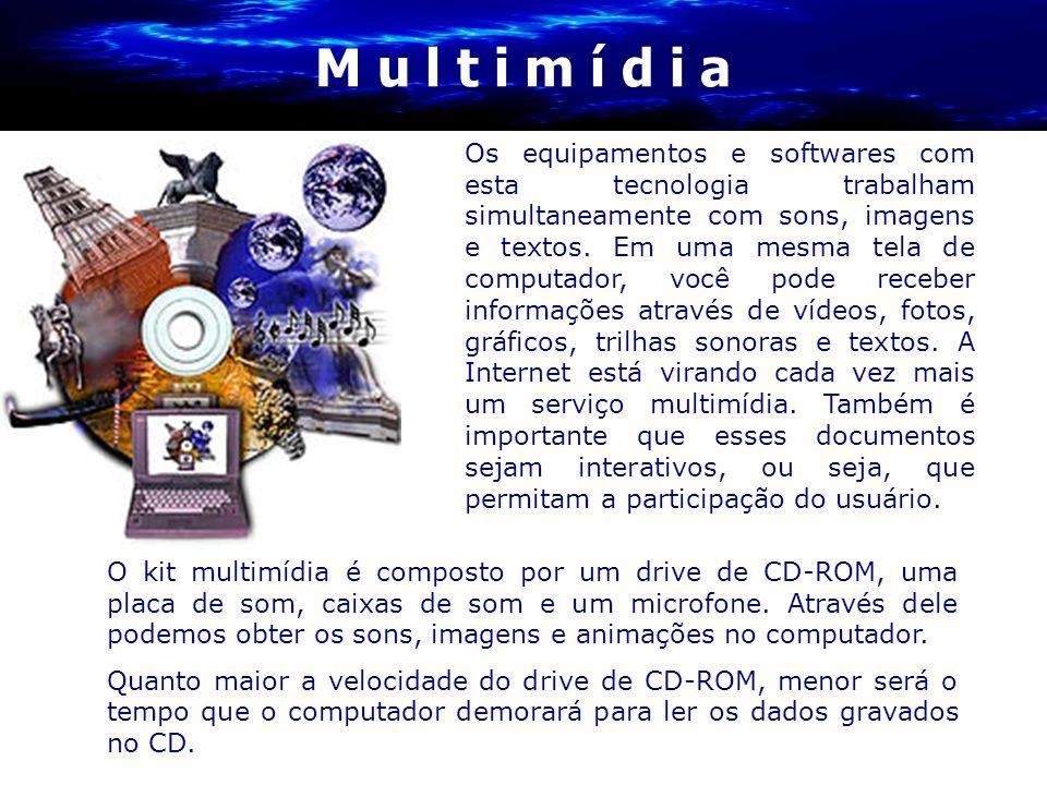 M u l t i m í d i a O kit multimídia é composto por um drive de CD-ROM, uma placa de som, caixas de som e um microfone. Através dele podemos obter os