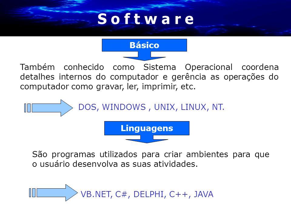 S o f t w a r e São programas utilizados para criar ambientes para que o usuário desenvolva as suas atividades. Linguagens VB.NET, C#, DELPHI, C++, JA