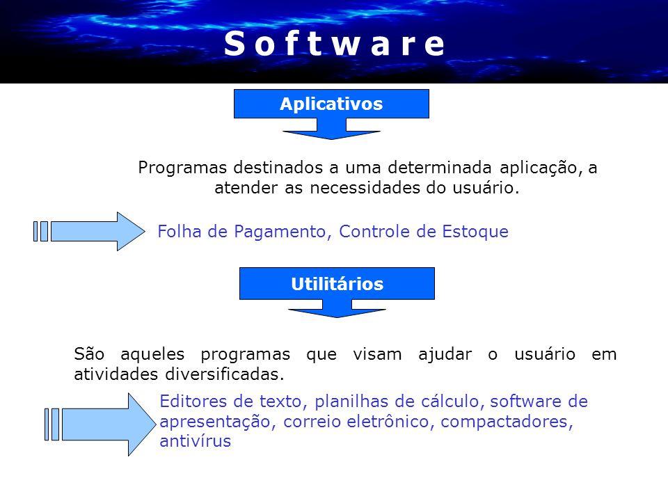 São aqueles programas que visam ajudar o usuário em atividades diversificadas. Utilitários Editores de texto, planilhas de cálculo, software de aprese