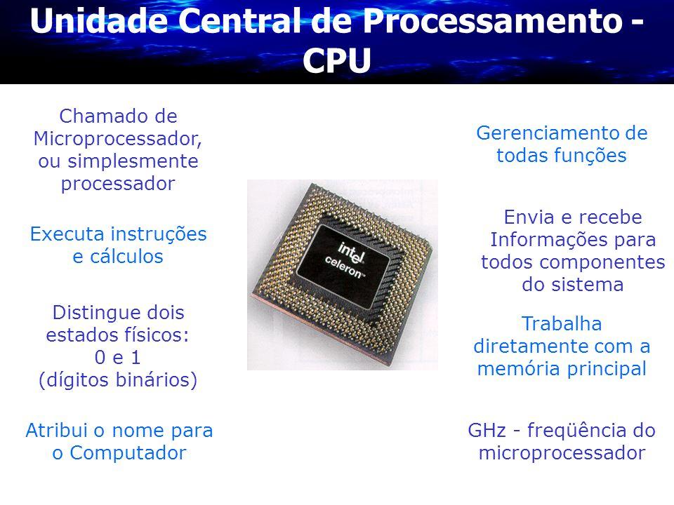 Unidade Central de Processamento - CPU Gerenciamento de todas funções Chamado de Microprocessador, ou simplesmente processador Distingue dois estados