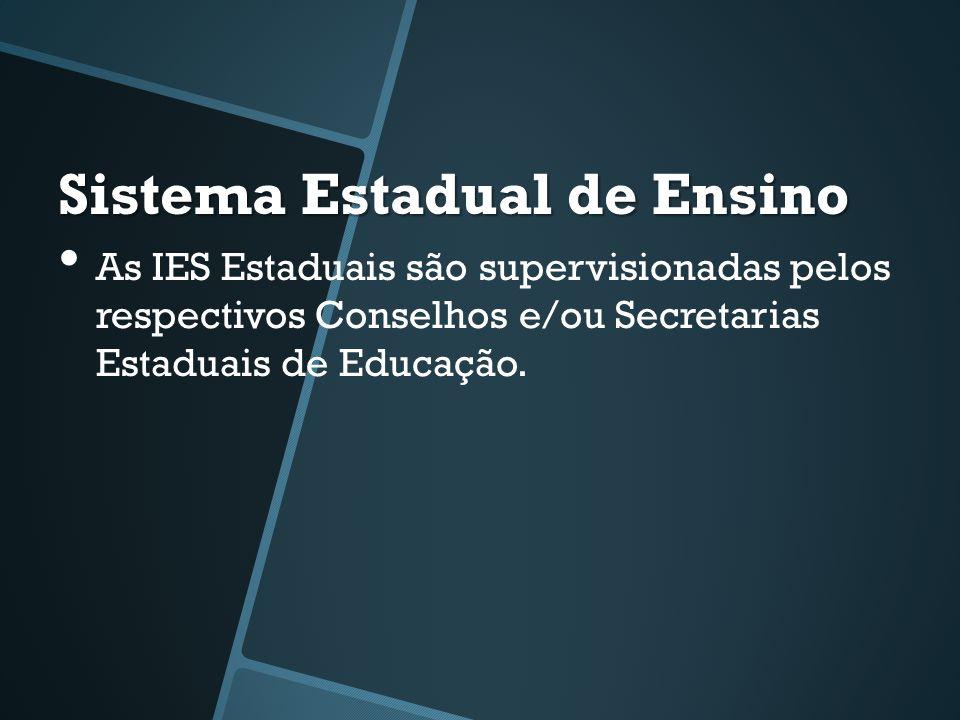 Sistema Estadual de Ensino • As IES Estaduais são supervisionadas pelos respectivos Conselhos e/ou Secretarias Estaduais de Educação.