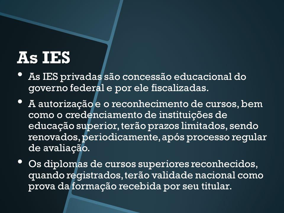 As IES • As IES privadas são concessão educacional do governo federal e por ele fiscalizadas. • A autorização e o reconhecimento de cursos, bem como o