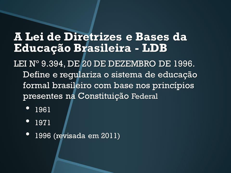 A Lei de Diretrizes e Bases da Educação Brasileira - LDB LEI Nº 9.394, DE 20 DE DEZEMBRO DE 1996. Define e regulariza o sistema de educação formal bra