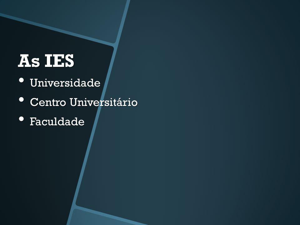 As IES • Universidade • Centro Universitário • Faculdade