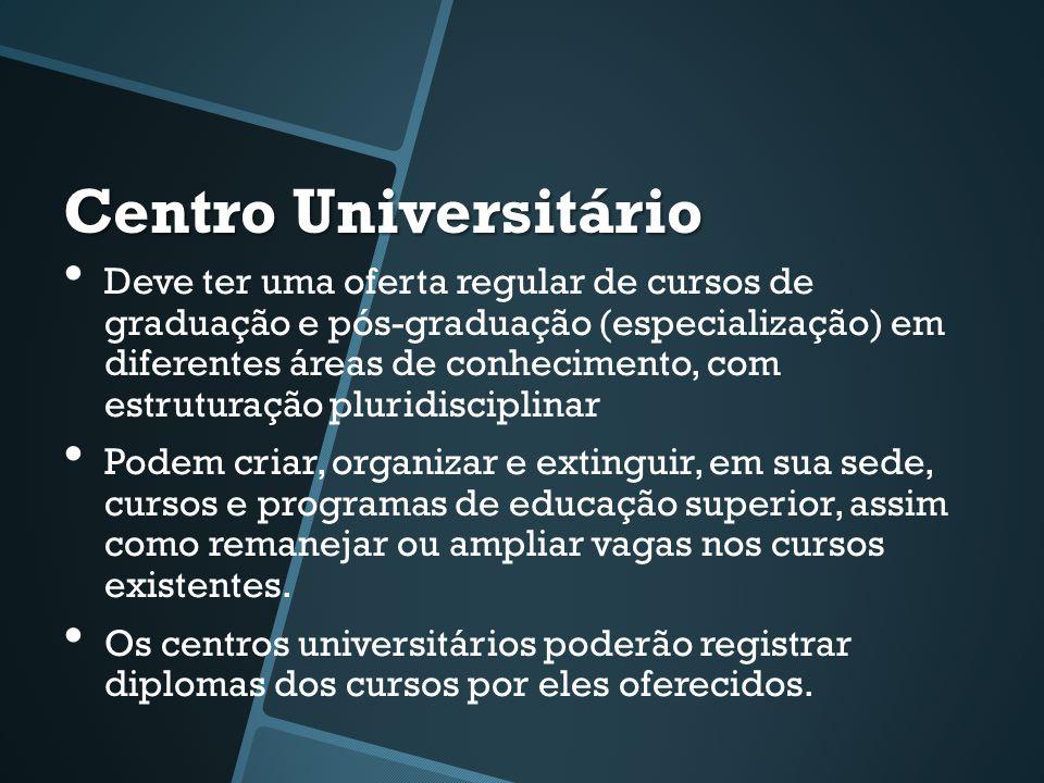 Centro Universitário • Deve ter uma oferta regular de cursos de graduação e pós-graduação (especialização) em diferentes áreas de conhecimento, com es