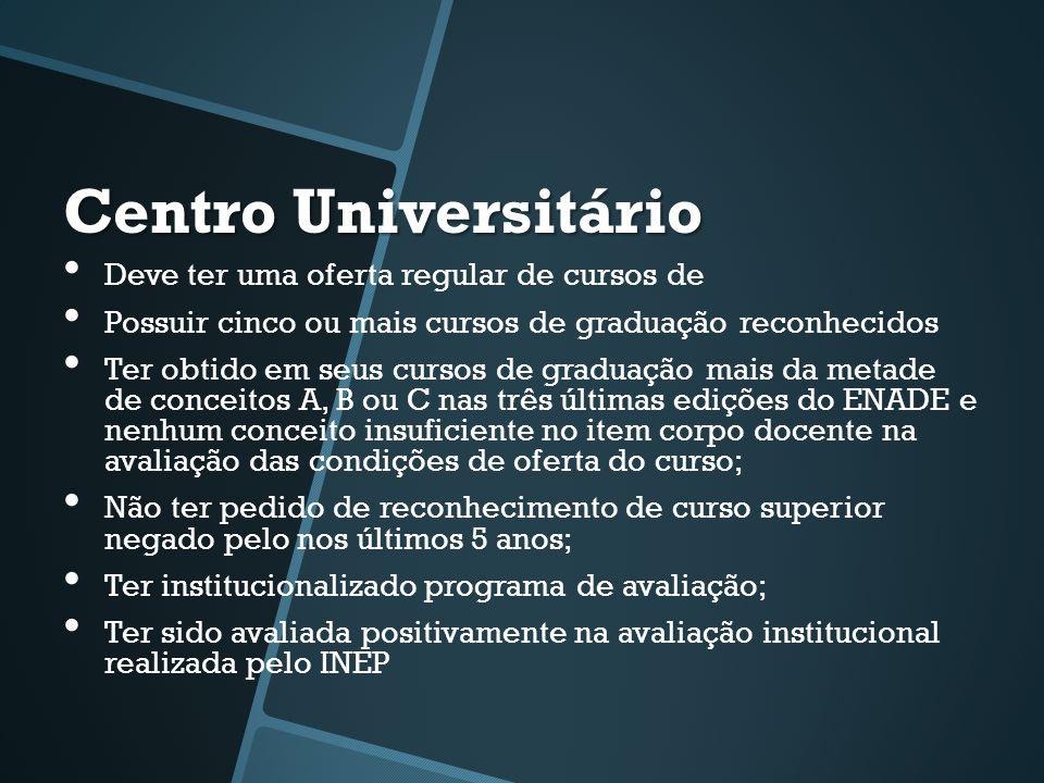 Centro Universitário • Deve ter uma oferta regular de cursos de • Possuir cinco ou mais cursos de graduação reconhecidos • Ter obtido em seus cursos d
