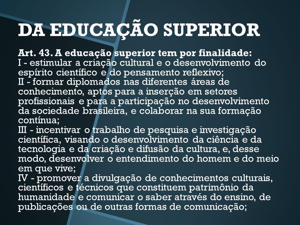 DA EDUCAÇÃO SUPERIOR Art. 43. A educação superior tem por finalidade: I - estimular a criação cultural e o desenvolvimento do espírito científico e do
