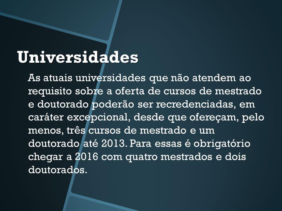 Universidades As atuais universidades que não atendem ao requisito sobre a oferta de cursos de mestrado e doutorado poderão ser recredenciadas, em caráter excepcional, desde que ofereçam, pelo menos, três cursos de mestrado e um doutorado até 2013.