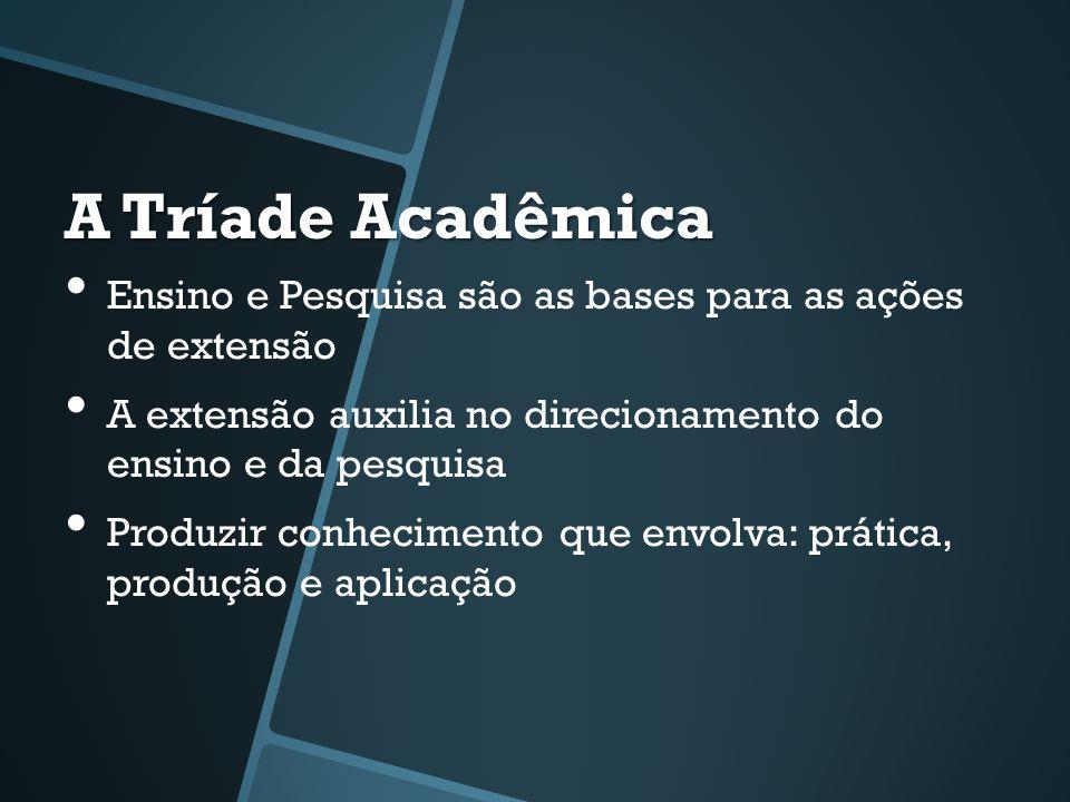 A Tríade Acadêmica • Ensino e Pesquisa são as bases para as ações de extensão • A extensão auxilia no direcionamento do ensino e da pesquisa • Produzi