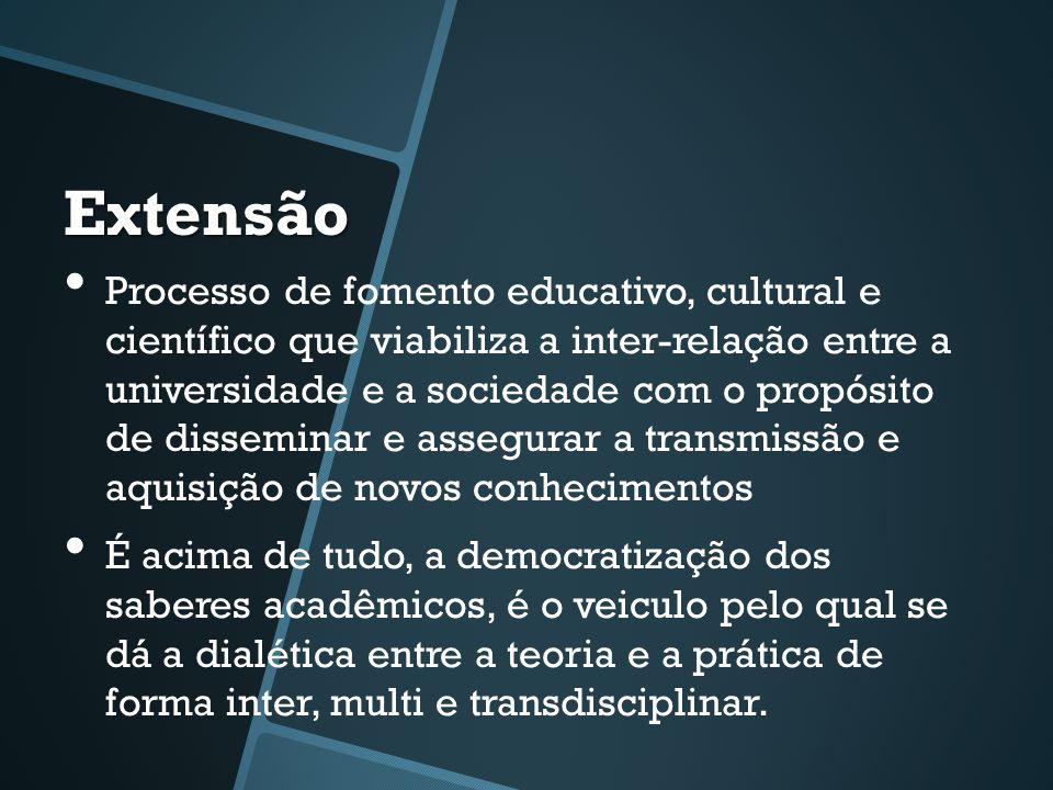 Extensão • Processo de fomento educativo, cultural e científico que viabiliza a inter-relação entre a universidade e a sociedade com o propósito de di