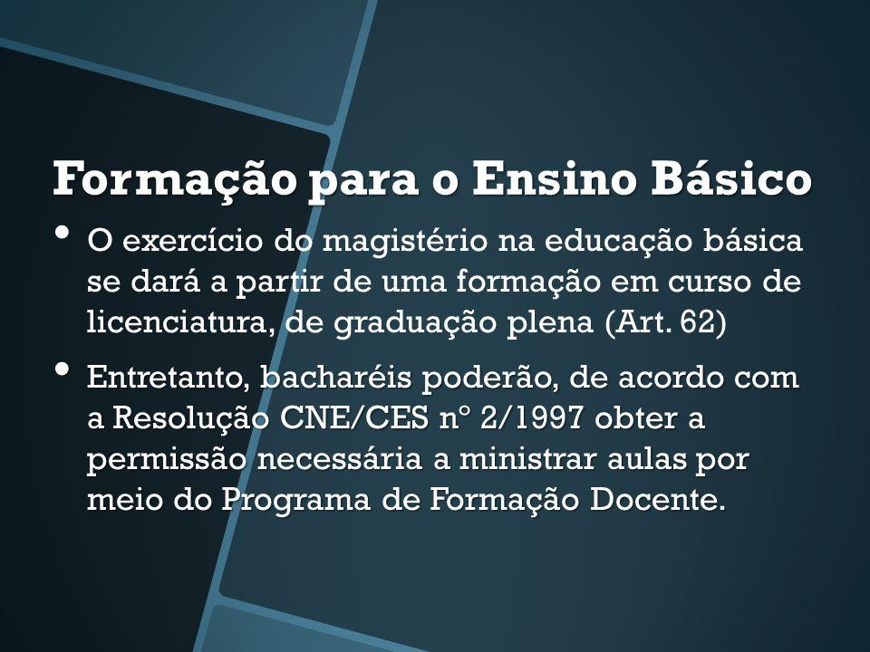 Formação para o Ensino Básico • O exercício do magistério na educação básica se dará a partir de uma formação em curso de licenciatura, de graduação plena (Art.