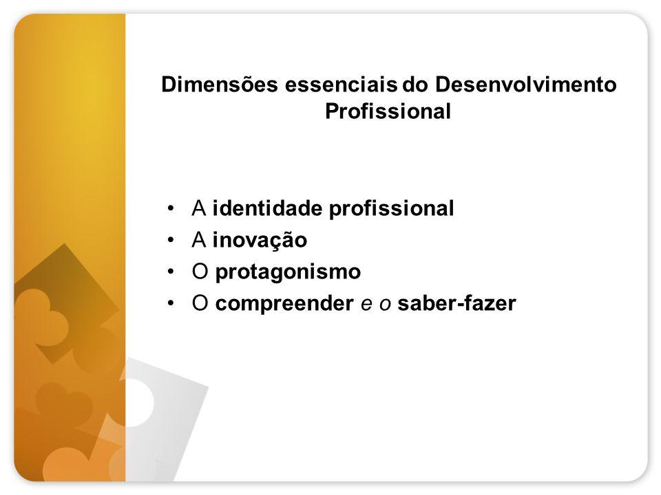 Dimensões essenciais do Desenvolvimento Profissional •A identidade profissional •A inovação •O protagonismo •O compreender e o saber-fazer