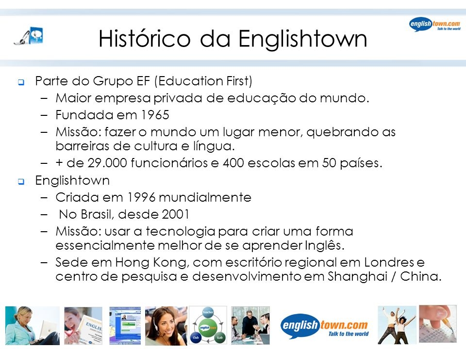 Histórico da Englishtown  Parte do Grupo EF (Education First) –Maior empresa privada de educação do mundo.