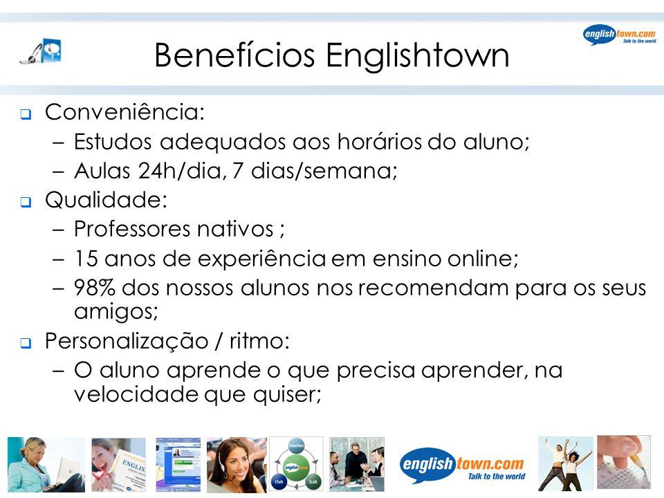 Benefícios Englishtown  Conveniência: –Estudos adequados aos horários do aluno; –Aulas 24h/dia, 7 dias/semana;  Qualidade: –Professores nativos ; –1