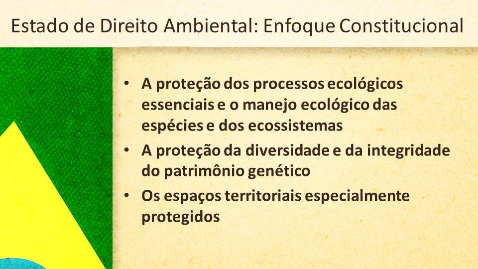 Estado de Direito Ambiental: Enfoque Constitucional • A proteção dos processos ecológicos essenciais e o manejo ecológico das espécies e dos ecossistemas • A proteção da diversidade e da integridade do patrimônio genético • Os espaços territoriais especialmente protegidos