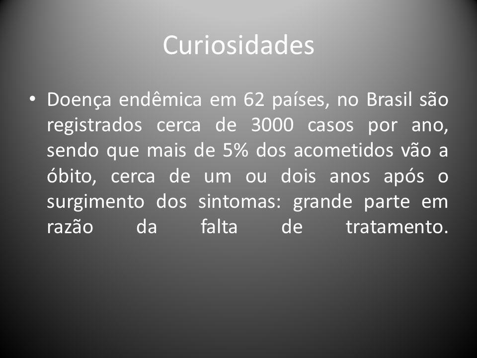 Curiosidades • Doença endêmica em 62 países, no Brasil são registrados cerca de 3000 casos por ano, sendo que mais de 5% dos acometidos vão a óbito, c