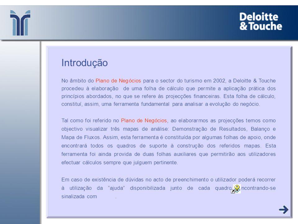 Introdução No âmbito do Plano de Negócios para o sector do turismo em 2002, a Deloitte & Touche procedeu à elaboração de uma folha de cálculo que perm