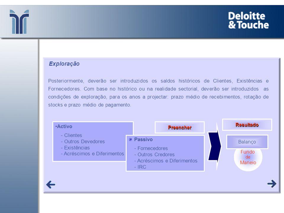 •Activo - Clientes - Outros Devedores - Existências - Acréscimos e Diferimentos Passivo - Fornecedores - Outros Credores - Acréscimos e Diferimentos -